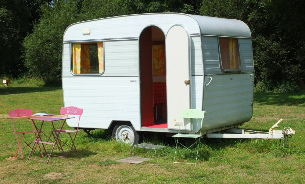 Tiny caravan on french campsite