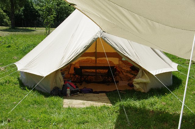 Outside bell tent